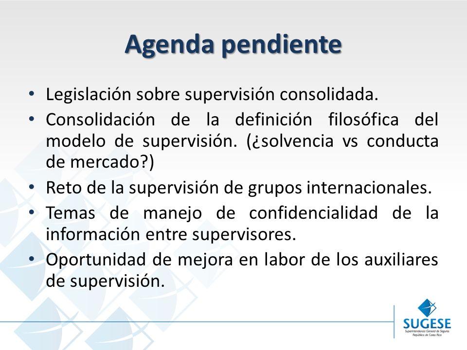Agenda pendiente Legislación sobre supervisión consolidada.