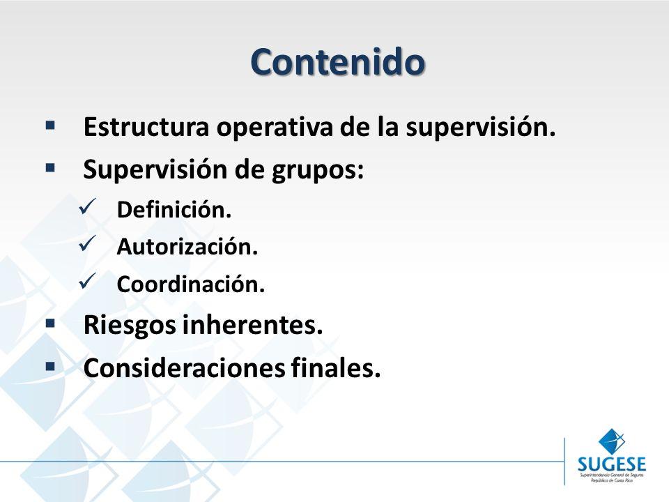 Campaña Información y sensibilización del Mercado de Seguros en Costa Rica Superintendencia General de Seguros Contenido Estructura operativa de la supervisión.
