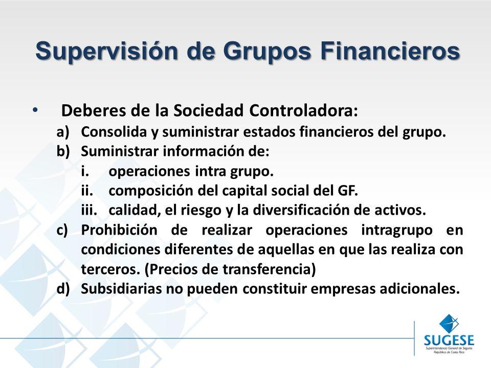 Campaña Información y sensibilización del Mercado de Seguros en Costa Rica Superintendencia General de Seguros Supervisión de Grupos Financieros Deberes de la Sociedad Controladora: a)Consolida y suministrar estados financieros del grupo.