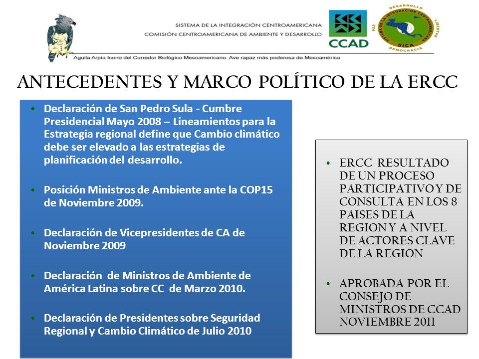 Declaración de San Pedro Sula - Cumbre Presidencial Mayo 2008 – Lineamientos para la Estrategia regional define que Cambio climático debe ser elevado