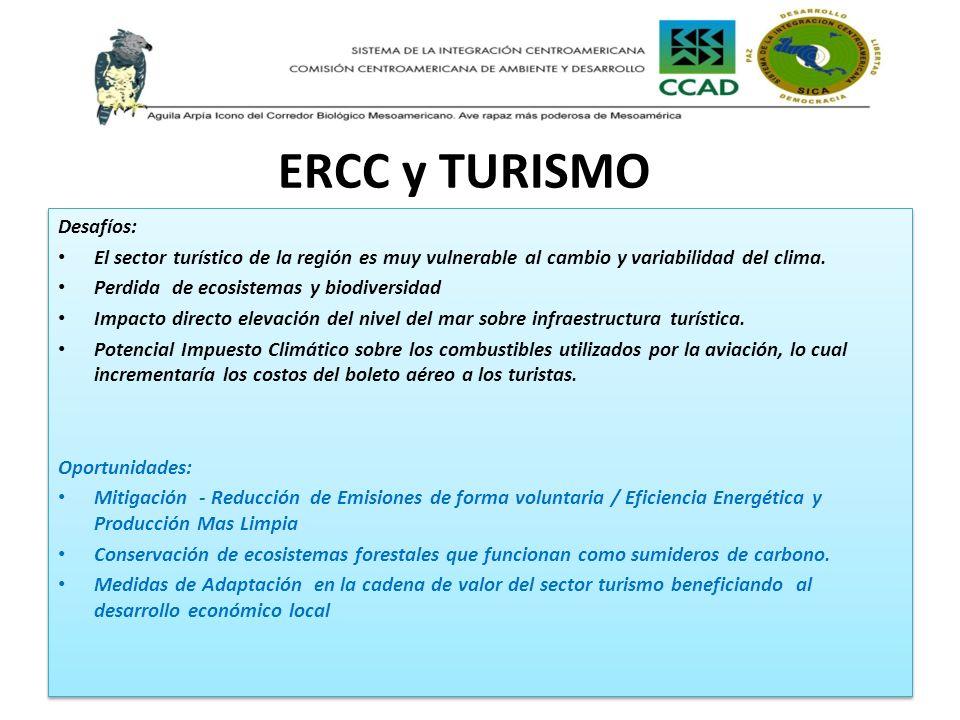 ERCC y TURISMO Desafíos: El sector turístico de la región es muy vulnerable al cambio y variabilidad del clima. Perdida de ecosistemas y biodiversidad