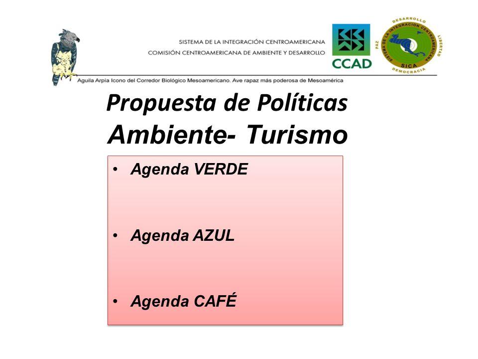 Propuesta de Políticas Ambiente- Turismo Agenda VERDE Agenda AZUL Agenda CAFÉ Agenda VERDE Agenda AZUL Agenda CAFÉ