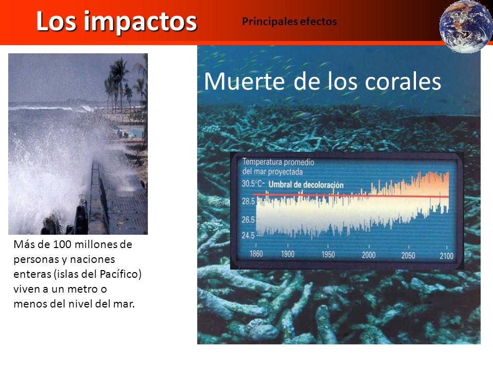 Los impactos Muerte de los corales Principales efectos Temperatura Más de 100 millones de personas y naciones enteras (islas del Pacífico) viven a un