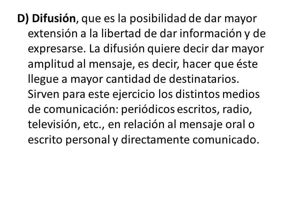 D) Difusión, que es la posibilidad de dar mayor extensión a la libertad de dar información y de expresarse.
