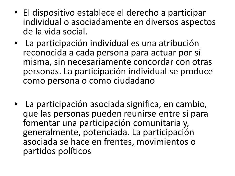 El dispositivo establece el derecho a participar individual o asociadamente en diversos aspectos de la vida social.