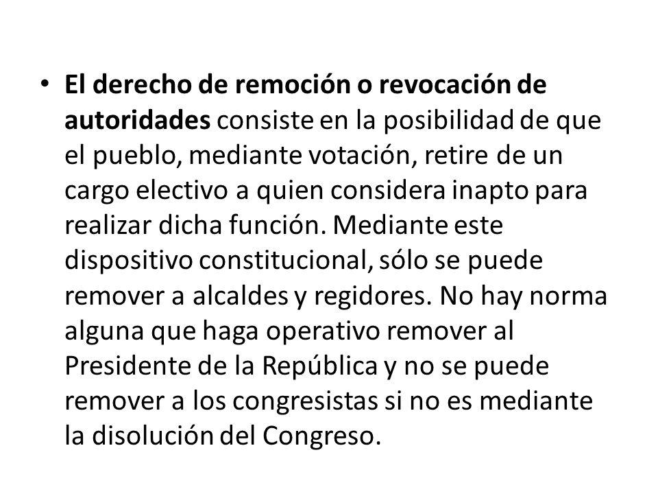 El derecho de remoción o revocación de autoridades consiste en la posibilidad de que el pueblo, mediante votación, retire de un cargo electivo a quien considera inapto para realizar dicha función.