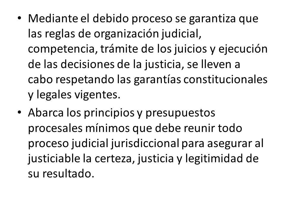 Mediante el debido proceso se garantiza que las reglas de organización judicial, competencia, trámite de los juicios y ejecución de las decisiones de la justicia, se lleven a cabo respetando las garantías constitucionales y legales vigentes.