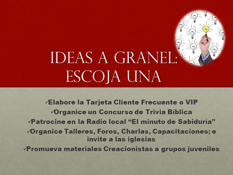 Ideas a granel: Escoja una Elabore la Tarjeta Cliente Frecuente o VIP Elabore la Tarjeta Cliente Frecuente o VIP Organice un Concurso de Trivia Bíblic