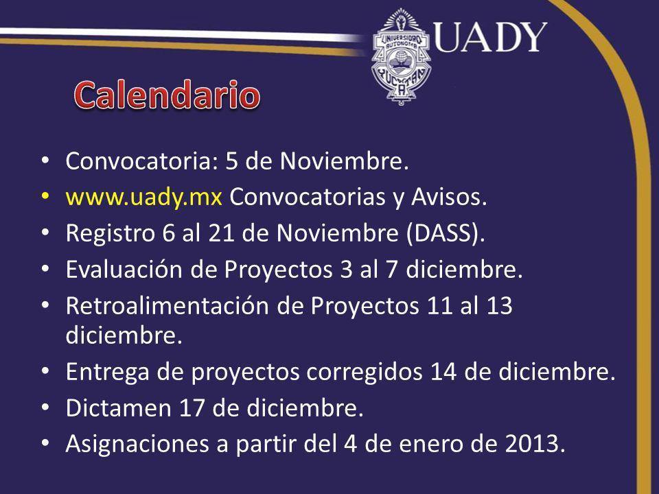Convocatoria: 5 de Noviembre. www.uady.mx Convocatorias y Avisos.