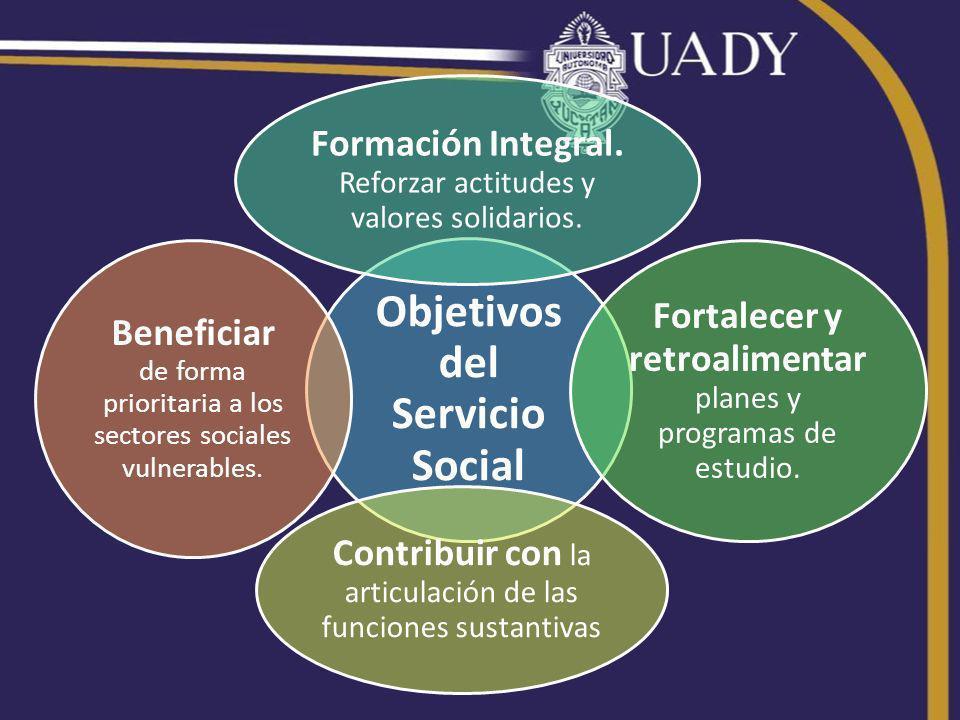 Objetivos del Servicio Social Formación Integral. Reforzar actitudes y valores solidarios.