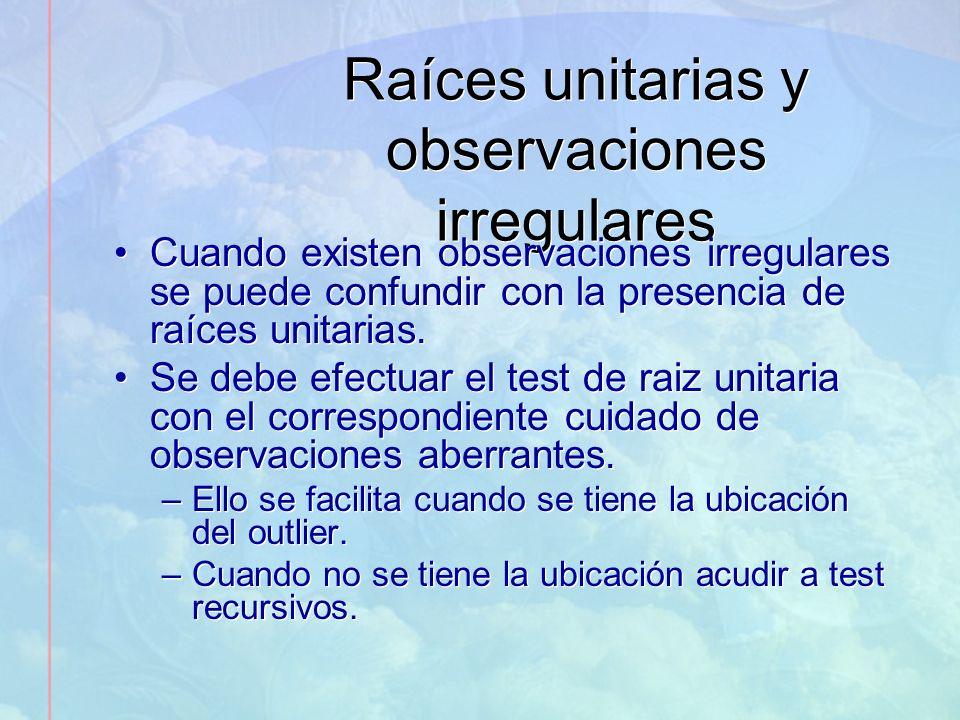 Raíces unitarias y observaciones irregulares Cuando existen observaciones irregulares se puede confundir con la presencia de raíces unitarias. Se debe