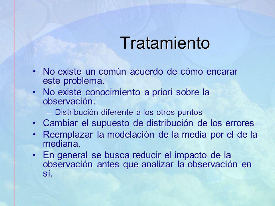 Tratamiento No existe un común acuerdo de cómo encarar este problema. No existe conocimiento a priori sobre la observación. –Distribución diferente a