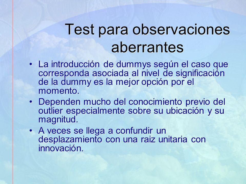 Test para observaciones aberrantes La introducción de dummys según el caso que corresponda asociada al nivel de significación de la dummy es la mejor