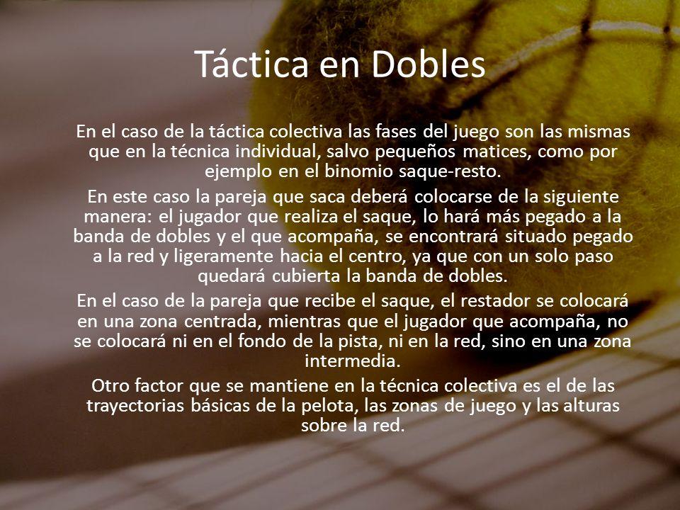 Táctica en Dobles En el caso de la táctica colectiva las fases del juego son las mismas que en la técnica individual, salvo pequeños matices, como por
