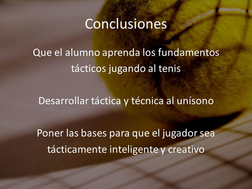 Conclusiones Que el alumno aprenda los fundamentos tácticos jugando al tenis Desarrollar táctica y técnica al unísono Poner las bases para que el juga
