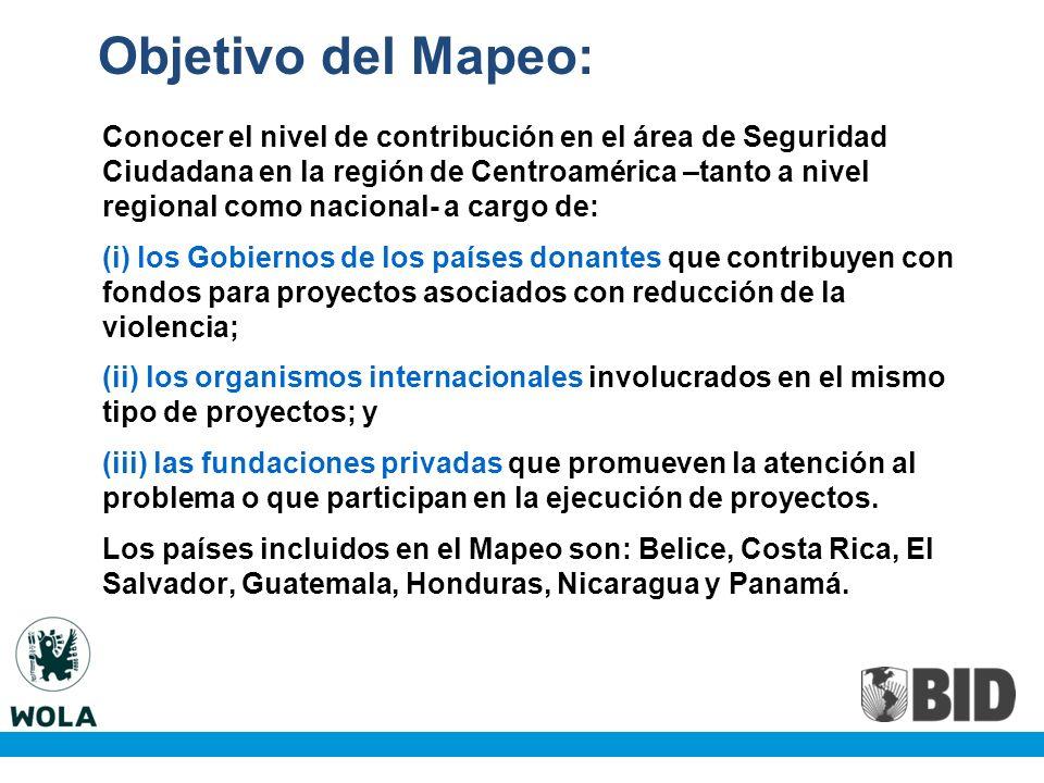 Objetivo del Mapeo: Conocer el nivel de contribución en el área de Seguridad Ciudadana en la región de Centroamérica –tanto a nivel regional como nacional- a cargo de: (i) los Gobiernos de los países donantes que contribuyen con fondos para proyectos asociados con reducción de la violencia; (ii) los organismos internacionales involucrados en el mismo tipo de proyectos; y (iii) las fundaciones privadas que promueven la atención al problema o que participan en la ejecución de proyectos.