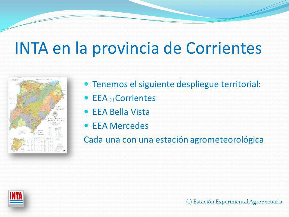 INTA en la provincia de Corrientes Tenemos el siguiente despliegue territorial: EEA (1) Corrientes EEA Bella Vista EEA Mercedes Cada una con una estación agrometeorológica (1) Estación Experimental Agropecuaria