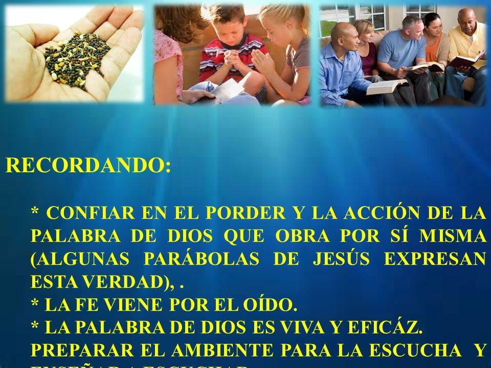 RECORDANDO: * CONFIAR EN EL PORDER Y LA ACCIÓN DE LA PALABRA DE DIOS QUE OBRA POR SÍ MISMA (ALGUNAS PARÁBOLAS DE JESÚS EXPRESAN ESTA VERDAD),. * LA FE
