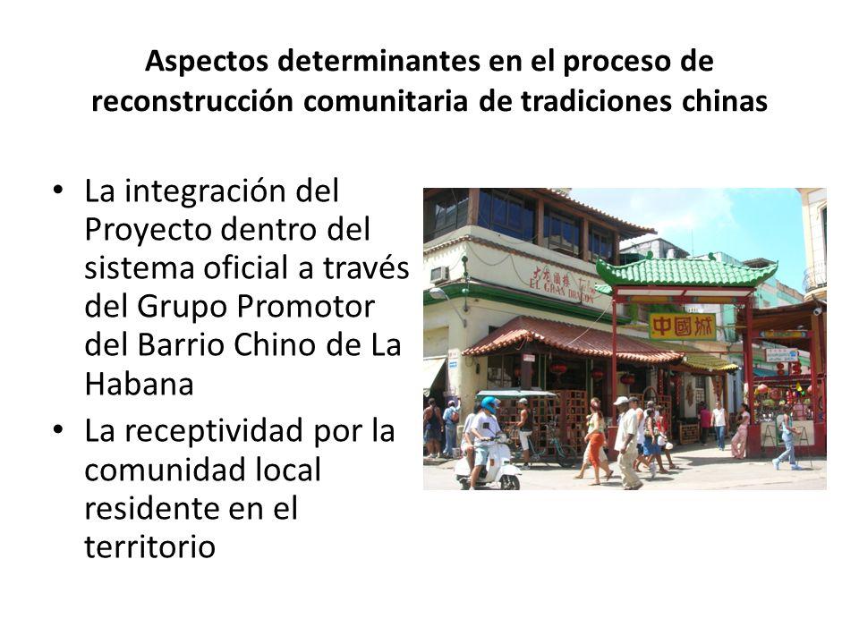 Aspectos determinantes en el proceso de reconstrucción comunitaria de tradiciones chinas La integración del Proyecto dentro del sistema oficial a través del Grupo Promotor del Barrio Chino de La Habana La receptividad por la comunidad local residente en el territorio