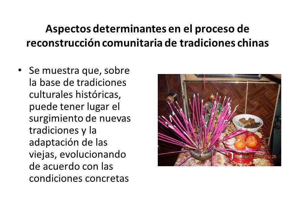 Aspectos determinantes en el proceso de reconstrucción comunitaria de tradiciones chinas Se muestra que, sobre la base de tradiciones culturales históricas, puede tener lugar el surgimiento de nuevas tradiciones y la adaptación de las viejas, evolucionando de acuerdo con las condiciones concretas