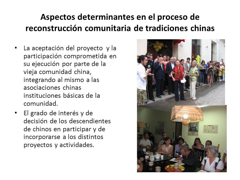 Aspectos determinantes en el proceso de reconstrucción comunitaria de tradiciones chinas La aceptación del proyecto y la participación comprometida en su ejecución por parte de la vieja comunidad china, integrando al mismo a las asociaciones chinas instituciones básicas de la comunidad.