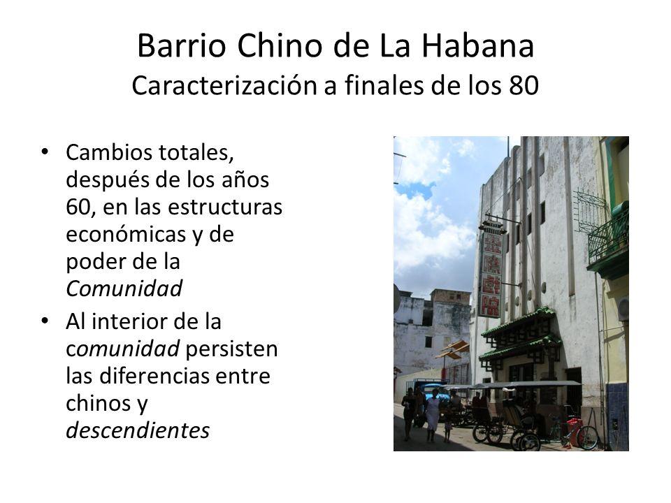 Barrio Chino de La Habana Caracterización a finales de los 80 Brusco proceso de disminución y envejecimiento de la membrecía de la comunidad La edad promedio rondaba los 70 años.