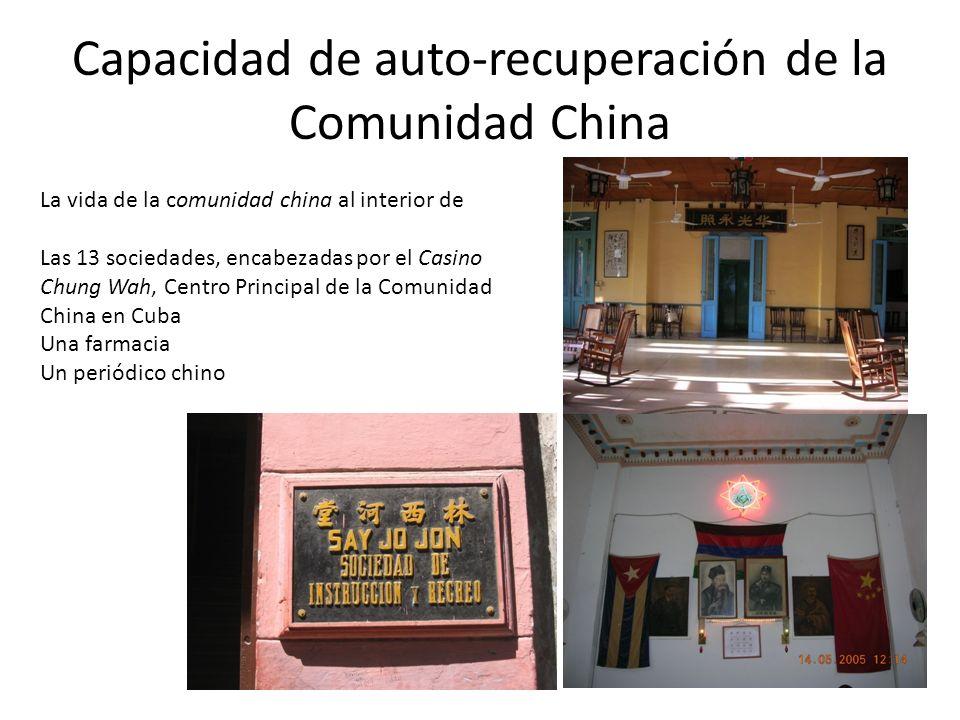 Capacidad de auto-recuperación de la Comunidad China La vida de la comunidad china al interior de Las 13 sociedades, encabezadas por el Casino Chung Wah, Centro Principal de la Comunidad China en Cuba Una farmacia Un periódico chino