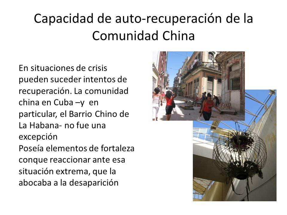 Capacidad de auto-recuperación de la Comunidad China En situaciones de crisis pueden suceder intentos de recuperación.