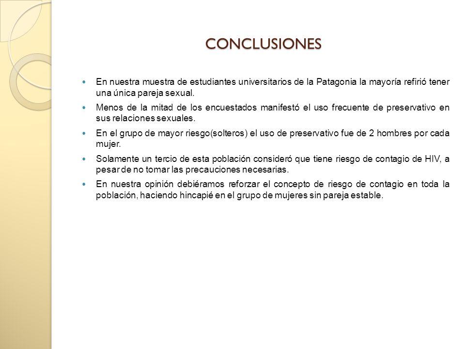 CONCLUSIONES En nuestra muestra de estudiantes universitarios de la Patagonia la mayoría refirió tener una única pareja sexual.