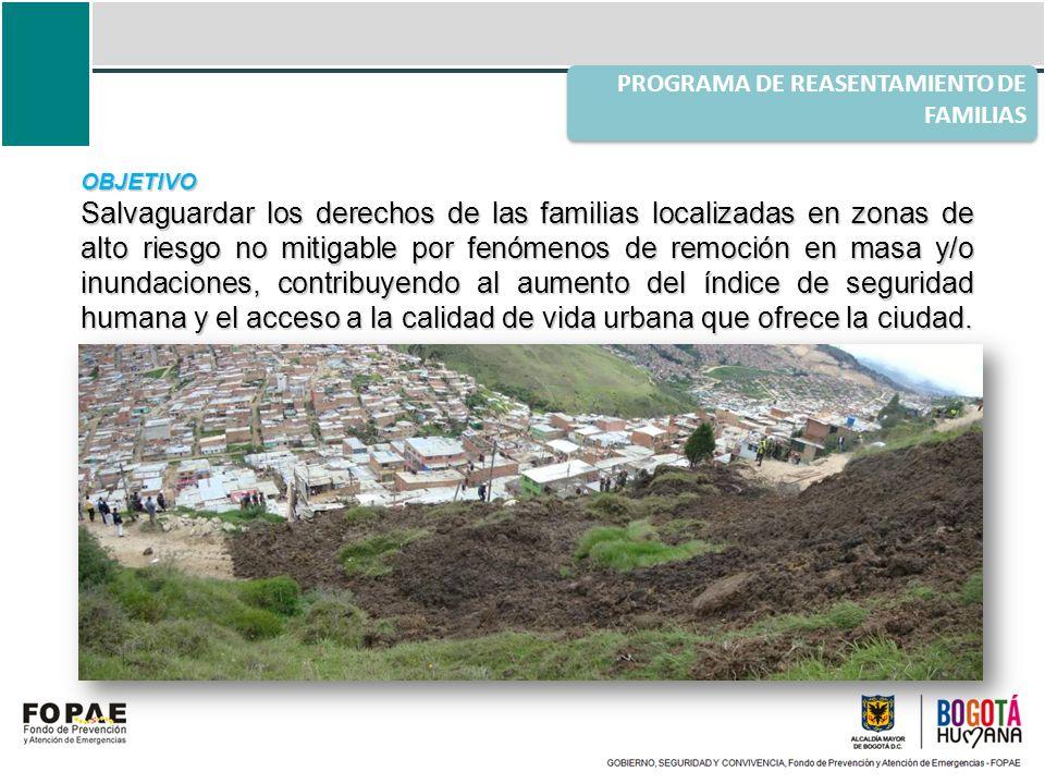 OBJETIVO Salvaguardar los derechos de las familias localizadas en zonas de alto riesgo no mitigable por fenómenos de remoción en masa y/o inundaciones