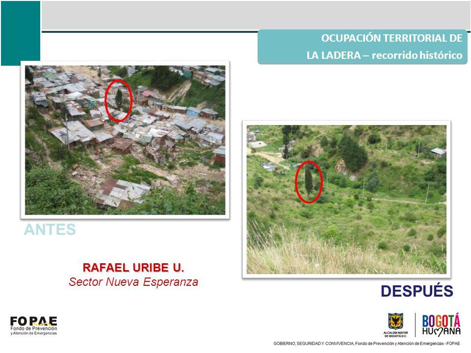 OCUPACIÓN TERRITORIAL DE LA LADERA – recorrido histórico RAFAEL URIBE U. Sector Nueva Esperanza ANTES DESPUÉS
