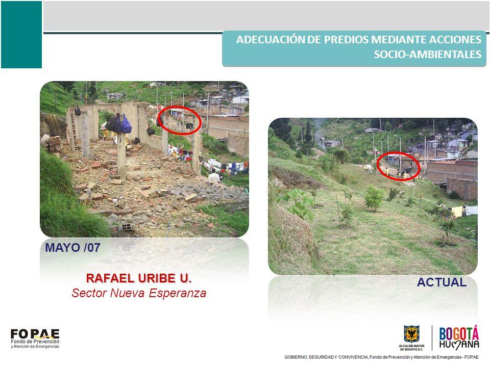 ADECUACIÓN DE PREDIOS MEDIANTE ACCIONES SOCIO-AMBIENTALES RAFAEL URIBE U. Sector Nueva Esperanza MAYO /07 ACTUAL