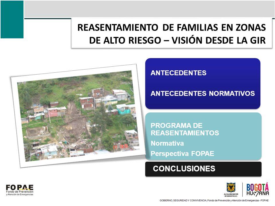 REASENTAMIENTO DE FAMILIAS EN ZONAS DE ALTO RIESGO – VISIÓN DESDE LA GIR ANTECEDENTES ANTECEDENTES NORMATIVOS CONCLUSIONES PROGRAMA DE REASENTAMIENTOS