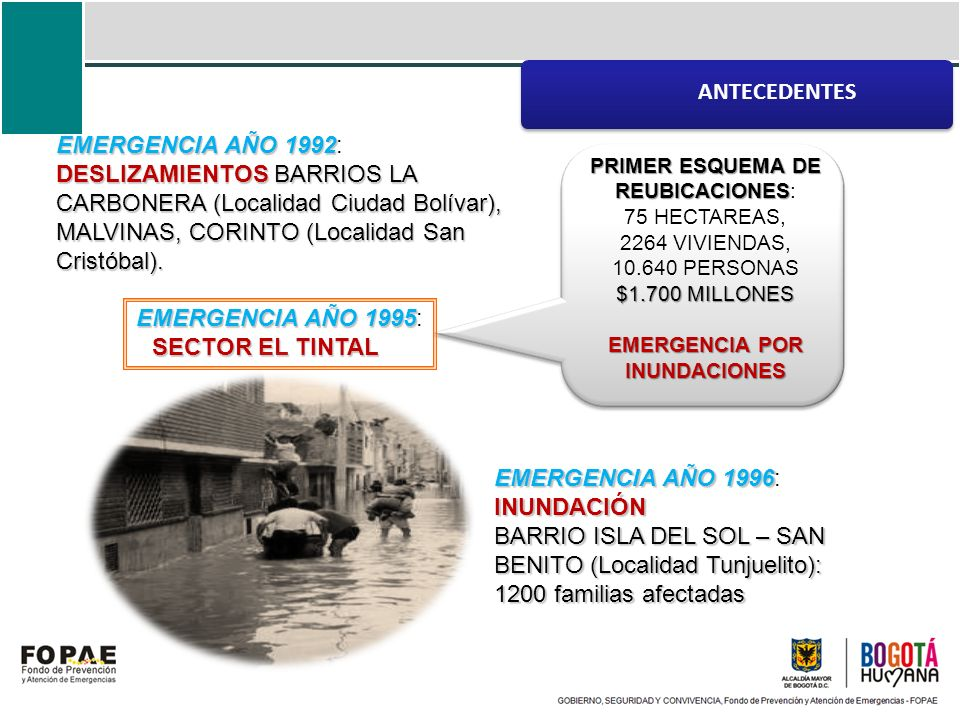 EMERGENCIA AÑO 1992 DESLIZAMIENTOSBARRIOS LA CARBONERA (Localidad Ciudad Bolívar), MALVINAS, CORINTO (Localidad San Cristóbal). EMERGENCIA AÑO 1992: D