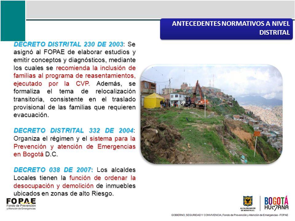 DECRETO DISTRITAL 230 DE 2003e asignó al FOPAE de elaborar estudios y emitir conceptos y diagnósticos, mediante los cuales se recomienda la inclusión