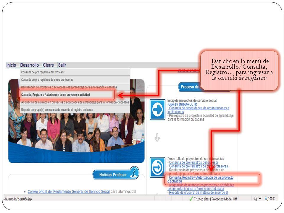 Dar clic en la menú de Desarrollo/Consulta, Registro… para ingresar a la caratula de registro