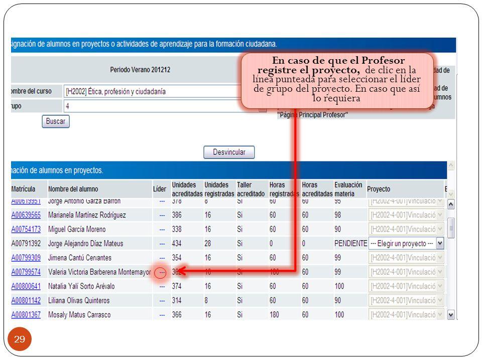 29 Índice En caso de que el Profesor registre el proyecto, de clic en la línea punteada para seleccionar el líder de grupo del proyecto.