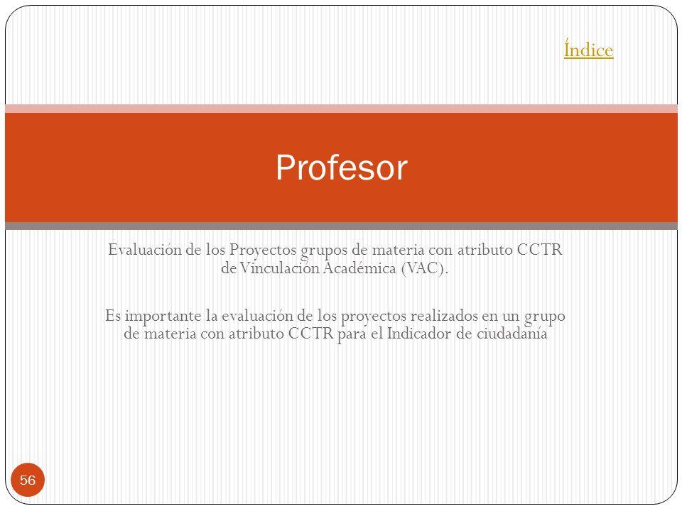 Evaluación de los Proyectos grupos de materia con atributo CCTR de Vinculación Académica (VAC). Es importante la evaluación de los proyectos realizado