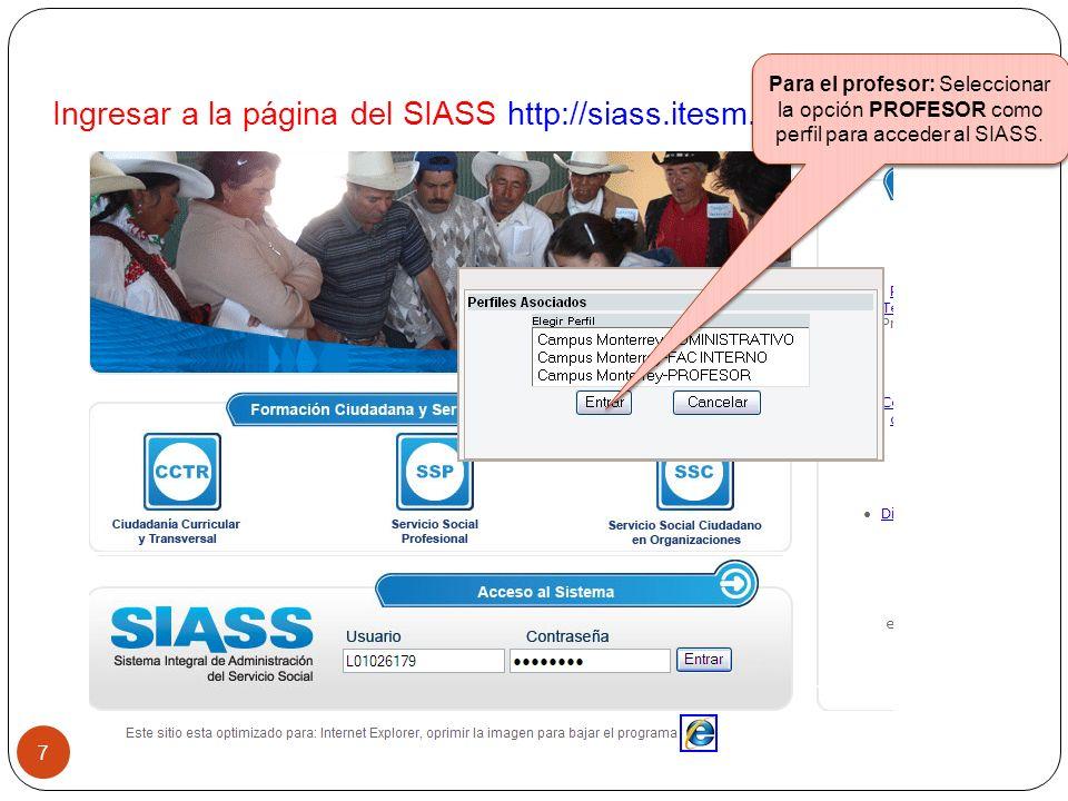Esta opción para registrar/consultar proyectos en las que SI se acreditarán horas de SSC.