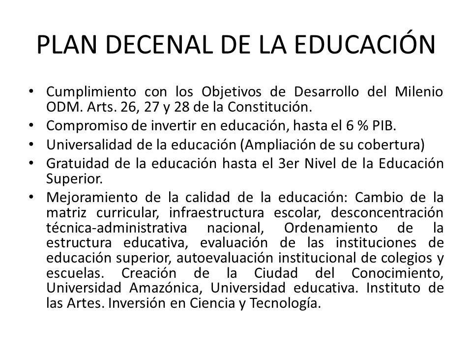 PLAN DECENAL DE LA EDUCACIÓN Cumplimiento con los Objetivos de Desarrollo del Milenio ODM. Arts. 26, 27 y 28 de la Constitución. Compromiso de inverti