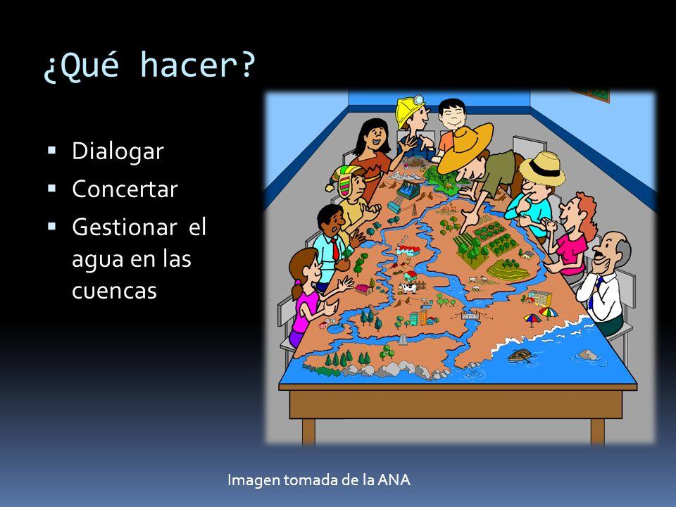 ¿Qué hacer? Dialogar Concertar Gestionar el agua en las cuencas Imagen tomada de la ANA