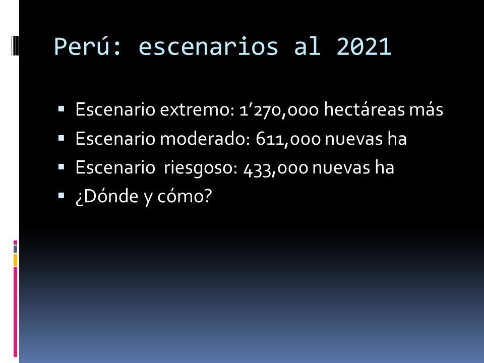 Perú: escenarios al 2021 Escenario extremo: 1270,ooo hectáreas más Escenario moderado: 611,000 nuevas ha Escenario riesgoso: 433,000 nuevas ha ¿Dónde y cómo?