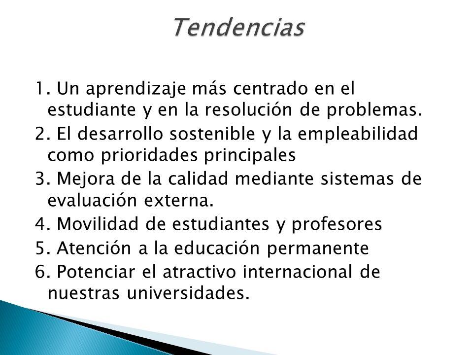 1. Un aprendizaje más centrado en el estudiante y en la resolución de problemas. 2. El desarrollo sostenible y la empleabilidad como prioridades princ