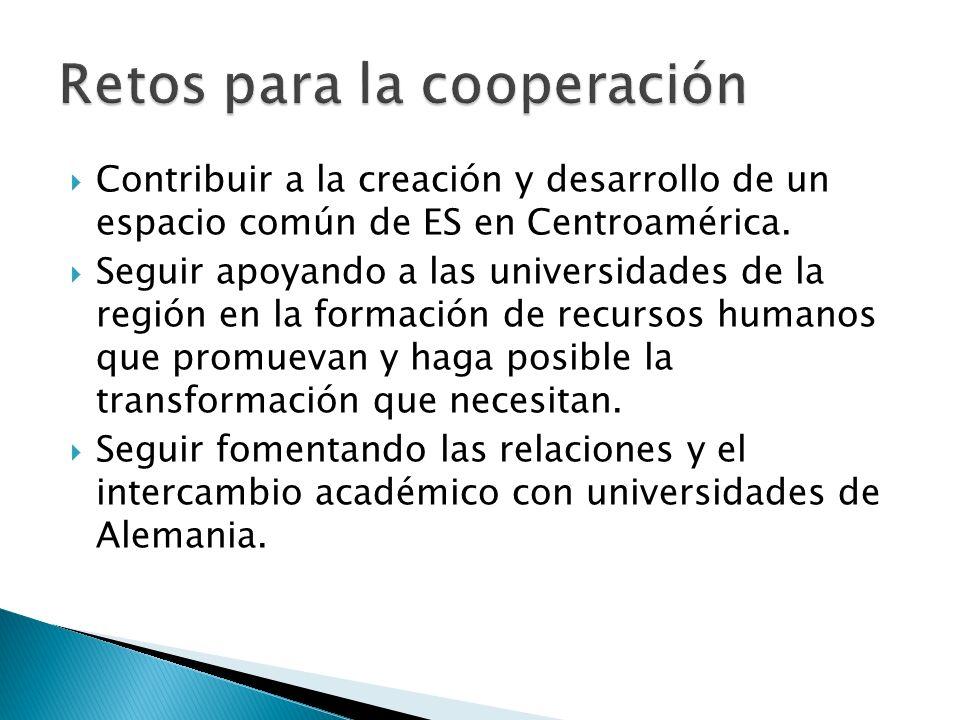 Contribuir a la creación y desarrollo de un espacio común de ES en Centroamérica. Seguir apoyando a las universidades de la región en la formación de