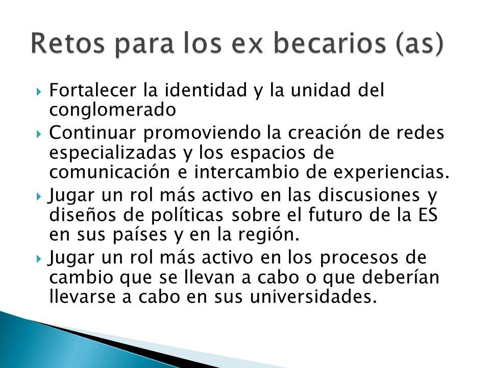 Fortalecer la identidad y la unidad del conglomerado Continuar promoviendo la creación de redes especializadas y los espacios de comunicación e interc