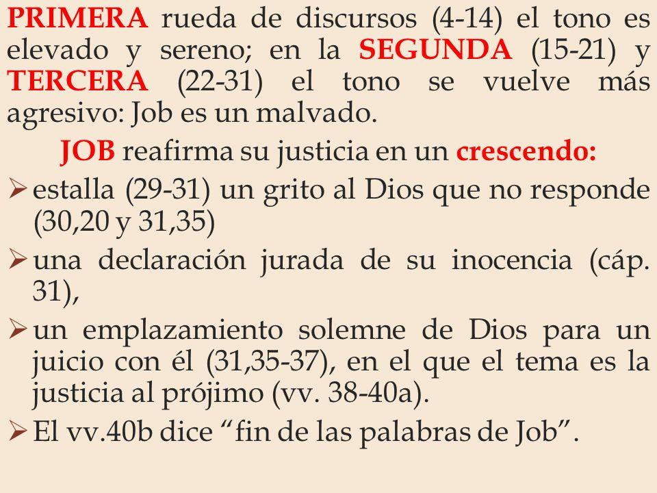 PRIMERA rueda de discursos (4-14) el tono es elevado y sereno; en la SEGUNDA (15-21) y TERCERA (22-31) el tono se vuelve más agresivo: Job es un malva