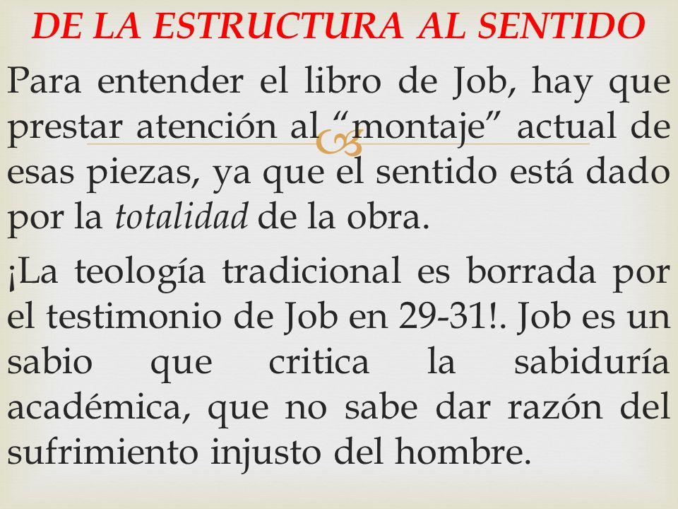 DE LA ESTRUCTURA AL SENTIDO Para entender el libro de Job, hay que prestar atención al montaje actual de esas piezas, ya que el sentido está dado por