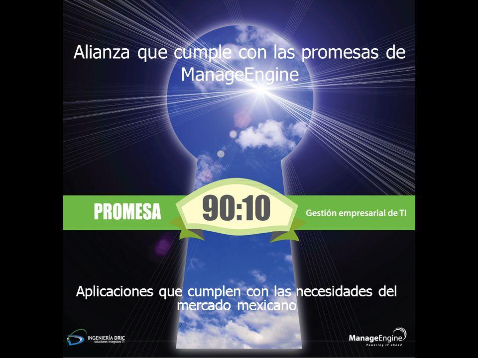 Aplicaciones que cumplen con las necesidades del mercado mexicano Alianza que cumple con las promesas de ManageEngine
