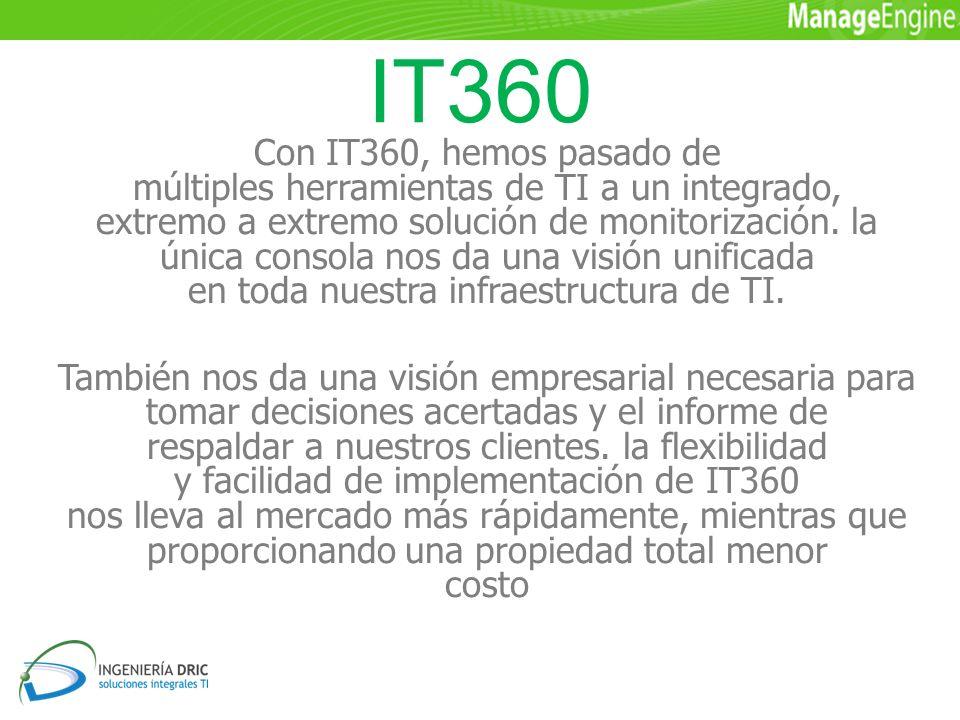 IT360 Con IT360, hemos pasado de múltiples herramientas de TI a un integrado, extremo a extremo solución de monitorización.
