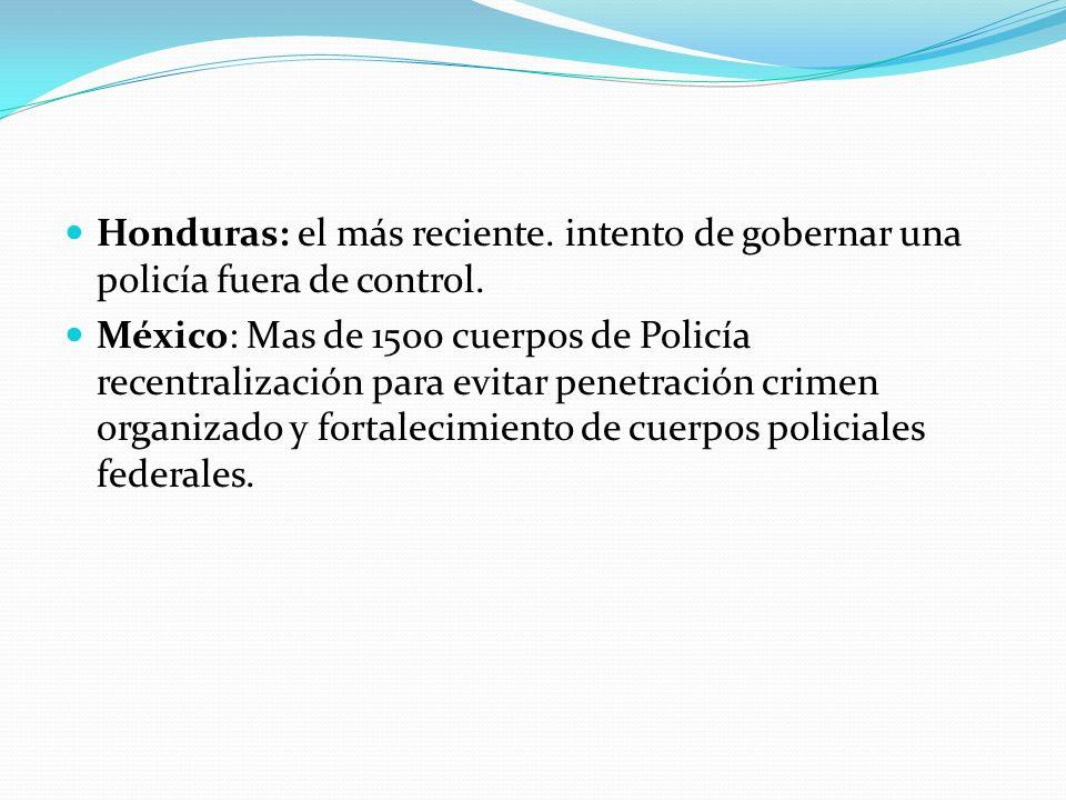 Honduras: el más reciente.intento de gobernar una policía fuera de control.